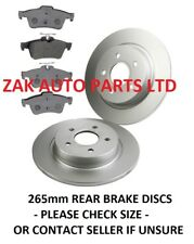 FORD FOCUS MK2 1.6 1.8 2.0 TDCi 2005- 265mm REAR BRAKE DISCS AND BRAKE PADS SET