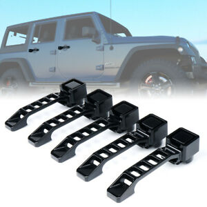 Xprite 5pcs Black Aluminum Exterior Door Handles Set for 07-18 Jeep Wrangler JK
