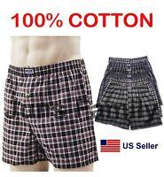 Lot 3 6 New PREMIUM 100% Cotton Mens Boxer Plaid Trunk Shorts Briefs Underwear