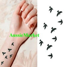 1 x temporary tattoo sticker sheet birds black bird ladies girls fancy dress new