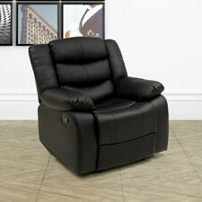 LAZY BOY LEATHER STYLE RECLINER CHAIR SOFA 1 SEATER LOUNGE ARMCHAIR GAMING BLACK