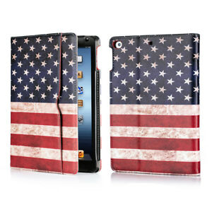 For iPad 9.7 inch 6th Air 2018 American Flag Wallet Folio Case Stand Smart Cover