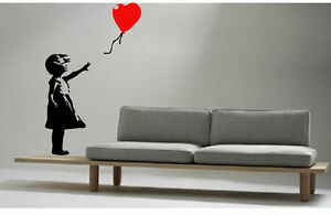 BANKSY STYLE GIRL with RED BALLOON KITCHEN BEDROOM WALL MURAL ART STICKER VINYL