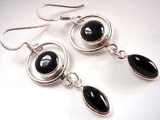 Genuine Black Onyx Marquise Hoop 925 Sterling Silver Dangle Earrings New