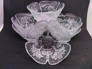 Vintage Set 6 Riihimaki Lasisepat Mantsala Finland Glass Bowls Cow Parsley