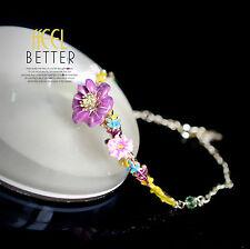 Bracelet Doré Feuille Fleur Lapin Email Violet Blanc Fin Ancien Style Retro L4