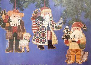 "Willmaur Crafts Heirloom ""Americana Santas"" Set 3 Xmas Counted Cross Stitch Kit"