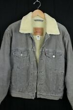 Levi's Mens Gray Corduroy Sherpa Lined Trucker Jacket Sz Small