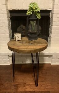 Custom industrial wooden spool end tables / night stand - Weathered Oak