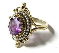 14k Yellow Gold Amethyst Seed Pearl Ring Size 5.5