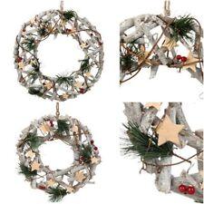 Ghirlande, corone e fiori natalizi bianco in legno