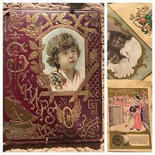 1894 Nebraska Victorian Scrapbook Trade Calling Cards Christmas Antique
