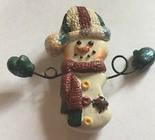 "Vintage 2-1/2"" Christmas Snowman Holiday Brooch Pin Cj-24"