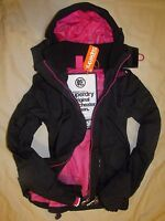 New Womens Superdry Hooded Technical Jacket Windcheater Black COAT Mesh Lined