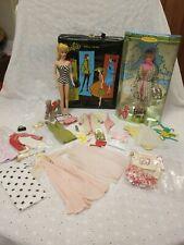 Vtg Barbie # 4 Blond Ponytail Doll Mattel Case, Clothing + Poodle Parade Doll