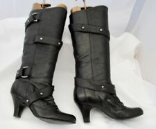 Faith Black Leather Pull On Knee Length Boots Size 5