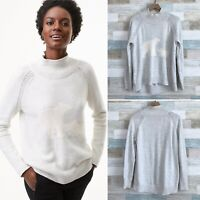 LOFT Polar Bear Mock Neck Sweater Gray Raglan Cozy Soft Holiday Womens Medium