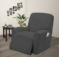 Pique Stretch Fit Furniture Chair Recliner Lazy Boy Cover Slipcover Gray / Grey