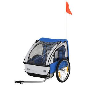 HOMCOM 2-Seat Child Bike Trailer Kid Stroller w/ Steel Frame Seat Belt Blue