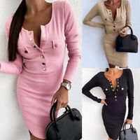 Womens V Neck Bodycon Dress Ladies Long Sleeve Knitted Sweater Jumper Mini Dress
