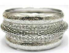 Sterling Silver Bangle Bracelet Womens Opulent 5 Piece Set  +Gift Pouch