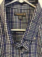 Peter Millar Blue Plaid Summer Comfort Checkered Button Down dress shirt - XXL