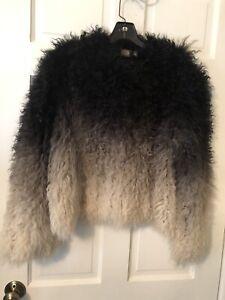 CUSP by NEIMAN MARCUS black & gray ombre Mongolian lamb fur jacket SIZE M