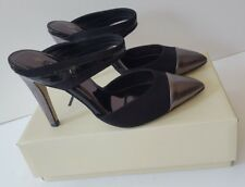 NEW NEXT LADIES BLACK SUEDE PEWTER METALLIC TOE  2 PART HIGH HEELS SHOES SIZE 5