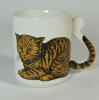 *Vintage* Ceramic Orange Tabby Cat Mug With Tail Handle Made in Japan