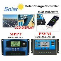 10A /30A /100A LCD MPPT Solar Panel Battery Regulator Charge Controller Dual USB