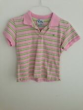 Lilly Pulitzer Pique Polo Shirt Pink & Light Green Striped Cotton Blend Size M