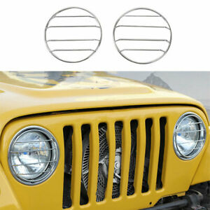 Fit For Jeep Wrangler TJ 97-06 Steel Chrome Front Headlight Lamp Ring Cover Trim
