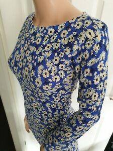Next Petites  Blue Stretchy Yellow Abstract Floral Short Mini Dress Size 8