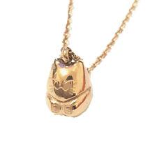 Maneki Neko Lucky Cat 18K Gold Plated Stainless Steel Pendant Necklace