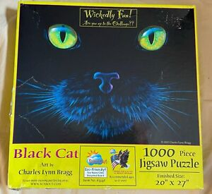 Sunsout BLACK CAT (GLOW IN THE DARK) Jigsaw Puzzle 1,000 PC (2015) - Complete