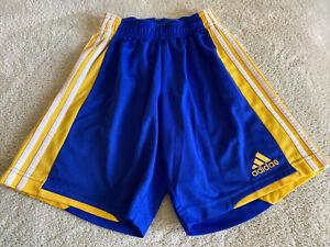 Adidas Boys Climalite Blue Yellow Basketball Shorts Small 8