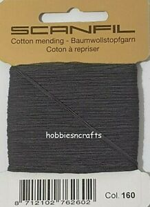DARK GREY Scanfil 100% COTTON Thread for Hand Sewing Darning & Mending 15 Metres