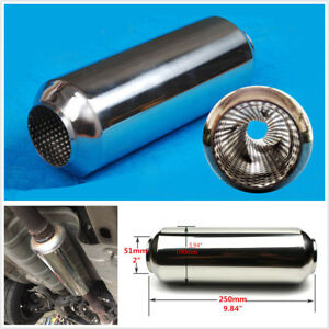 """Universal 2"""" (51mm) Stainless Middle Car Exhaust Muffler Tornado Silencer Pipe"""