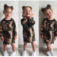 Fashion Toddler Kids Baby Girls Long Sleeve Camo T-shirt Top Dress Tee Clothes