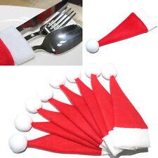 10PCS Christmas Hat Silverware Holder Xmas Mini Red Santa Claus Cutlery Bag a