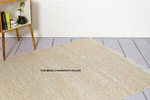 100% Recyclé Coton Fait à la Main Tapis Doré Couleur Chindi Sol Indien 4 1.8m