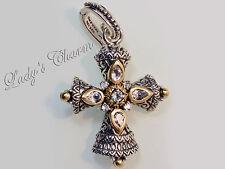 Barbara Bixby Cross Enhancer White Topaz Sterling Silver 18k Gold Pendant