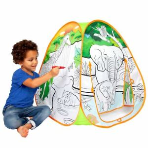 Playhut Doodle Tents SAFARI FUN Color-on Fabric Pop-Up Play Tent 8 Washable Mark
