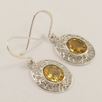 Natural CITRINE Gemstones Fashionable Earrings 925 Sterling Silver Jewelry