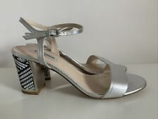 LK BENNETT Mila Silver Sandals NEW Snake Effect Leather Block Heel Size 8 Eur 41