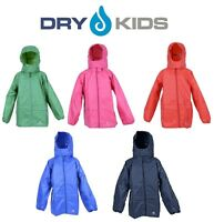 DRY KIDS Childrens Packaway Waterproof Jacket Unisex Girls and Boys Rain Coat