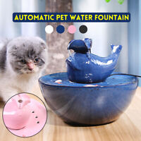 Pet Drinking Ceramics Water Fountain Electric Cat/Dog Automatic Bowl Filter