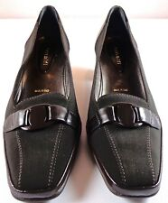 Amalfi Brown Leather Fabric Pumps Womens Heels Size 6.5 W Made in Italy