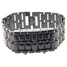 Blue LED Digital Black Lava Style Wrist Watch Iron Metal Samurai Men with B H5N4