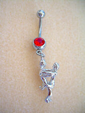 14g Kama Sutra Sex Position Navel Belly Ring Red CZ Surgical Steel #11